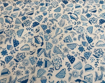 LAST CHANCE 100% Cotton Teatime print fabric by Lewis and Irene Teacups, Tea Party Floral Suitable for patchwork, quilting, dressmaking etc.