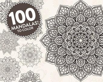 Printable Mandala Adult Coloring Pages | Floral Mandala Easy Coloring Book | 100 Mandalas