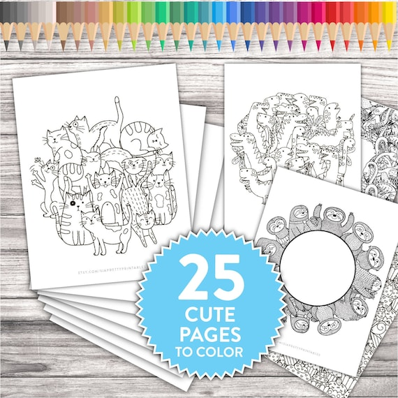 Printable Adult Coloring Pages Cute Kawaii Doodles Adult Etsy