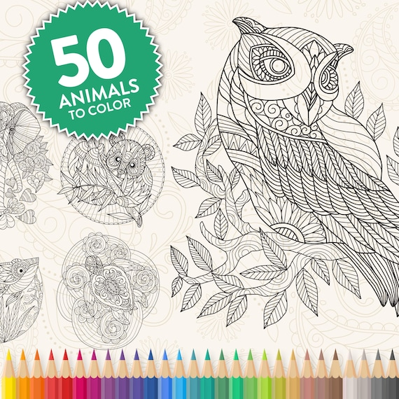 Printable Animal Zentangle Adult Coloring Pages Easy Fun Etsy