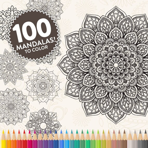 Printable Mandala Adult Coloring Pages Floral Mandala Easy Etsy