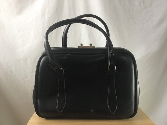 1950s Black Boxy Handbag