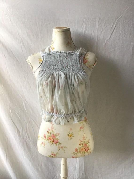 1930s Floral Blouse Size XS UK 6/8