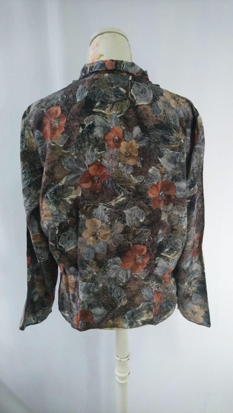 1980s Poppy Print Blouse Size L UK 1618