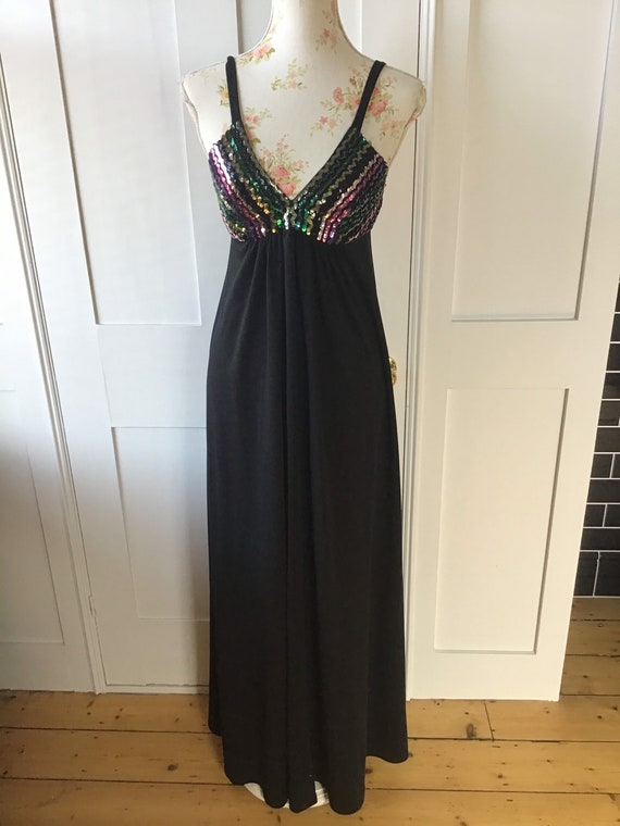 1960's Vintage Maxi Dress by Quad SIZE  M UK 12