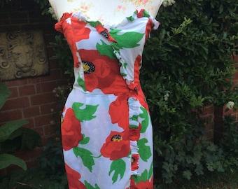 1980's Vintage Bold Poppy Print Bustier Dress by Mondi