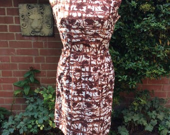 1960's Brown and Cream Abstract Pattern wiggle Dress by Global