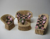 Quarter scale miniature wicker patio set