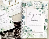Pregnancy Journal, Pregnancy Planner, Pregnancy Diary, eucalyptus, Baby Book, Pregnancy Gift, Pregnancy Milestone, pregnancy announcement