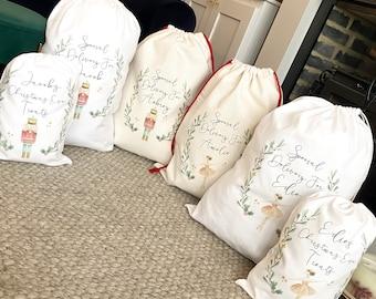 personalised santa sack, Christmas sack, Christmas nutcracker, sugar plum fairy, girl, boy, Christmas Eve box, first Christmas gift