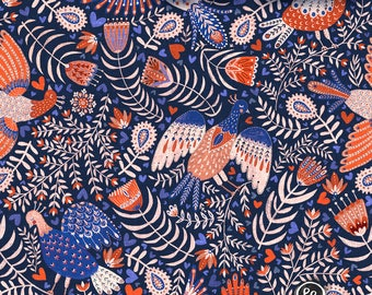 "Sweat fabric ""All my birds"", swedish folk art inspired design"