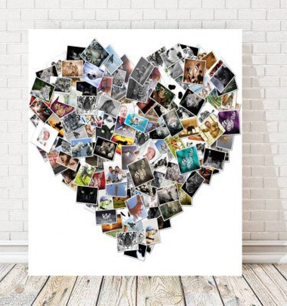 Personalised Heart Shaped Collage Canvas Etsy