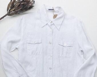Crisp White Linen Shirt