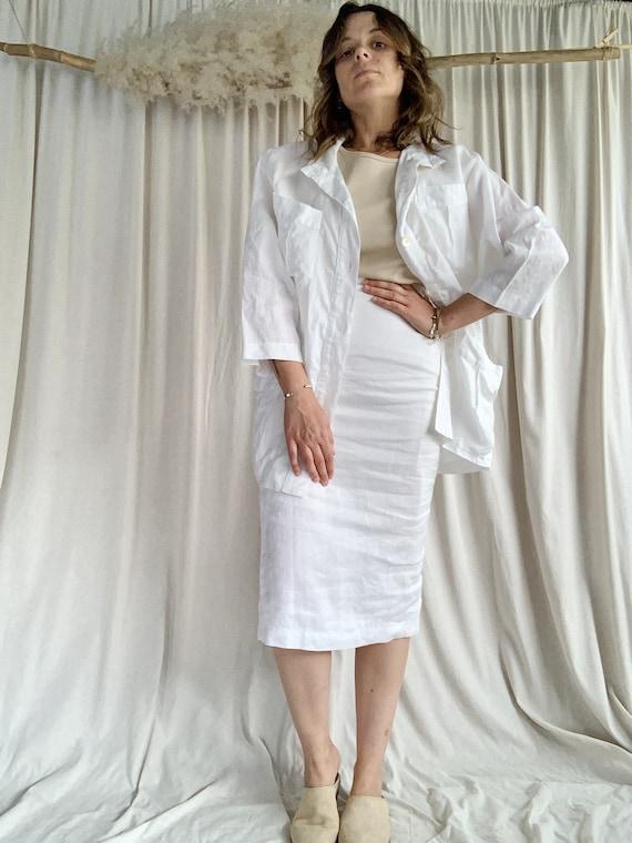 90s White Linen Skirt Set