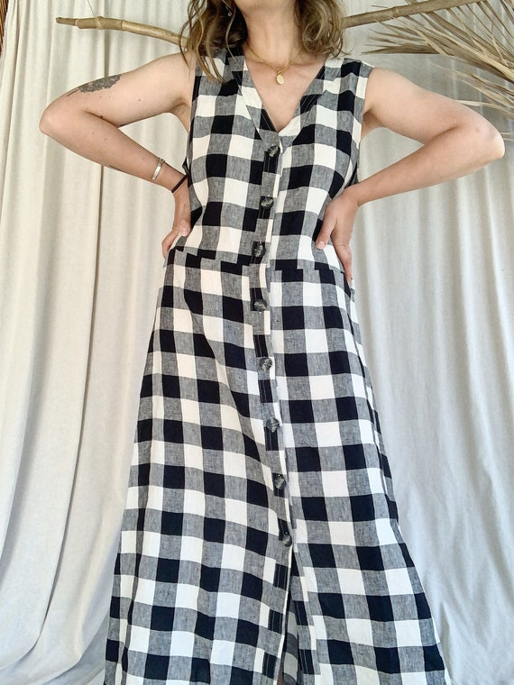 Gingham Linen Market Dress