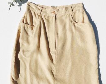 Desert Sand Silk Mini Skirt