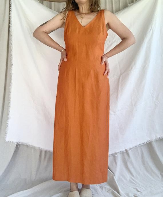 Tangerine Linen Column Dress