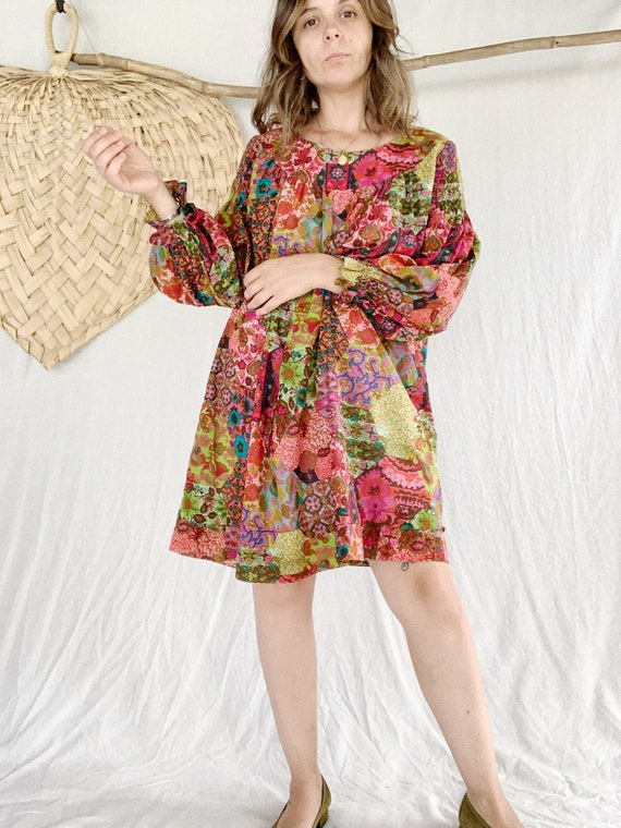 60s Patchwork Babydoll Dress