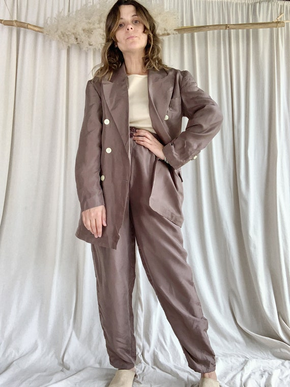 Taupe Silk Suit
