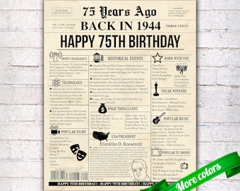 image about Free Printable Birthday Chronicle named 1944 birthday Etsy