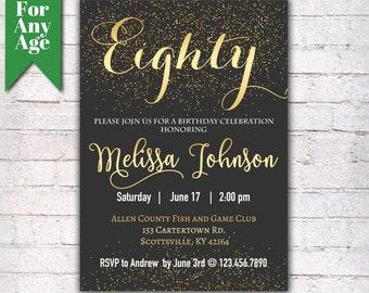 80th birthday invitations etsy 80th birthday invitation birthday party invite printable adult invitation black and gold any age men or women party i021 filmwisefo