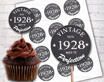 90th Birthday Cupcake Toppers 1928 Vintage Aged To Perfection