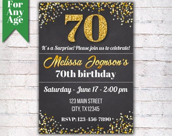 70th Birthday Invitation Party Invite Printable Adult Glitter Gold And Black Any Age Men Or Women