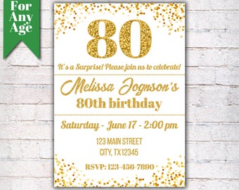 80th birthday invitations etsy 80th birthday invitation birthday party invite printable adult invitation glitter gold and black any age men or women party i001 filmwisefo