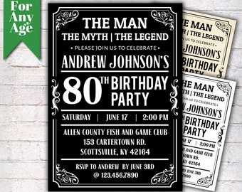 The Man Myth Legend Birthday Invitation 80th Party Printable Adult Any Age Men