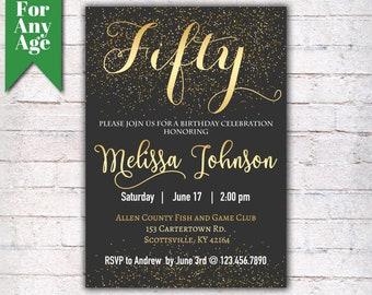 50th birthday invitations etsy 50th birthday invitation birthday party invite printable adult invitation black and gold any age men or women party i021 filmwisefo