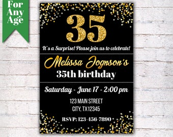 35th Birthday Invitation Party Invite Printable Adult Glitter Gold And Black Any Age Men Or Women