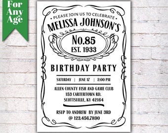 85th Birthday Invitation Vintage Whiskey Themed Party Invite Liquor I028