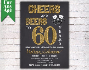 60th birthday invite etsy cheers and beers to 60 years birthday party invitation 60th birthday printable adult invite black gold any age men or women party i020 filmwisefo