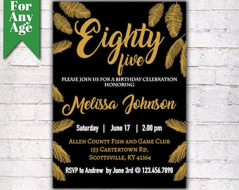 Gold Boho Invitation 85th Birthday Party Invite Feather Printable Adult Black