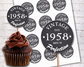 60th Birthday Cupcake Toppers 1958 Vintage Aged To Perfection