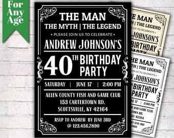The Man Myth Legend Birthday Invitation 40th Party Printable Adult Any Age Men
