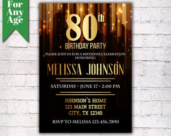 80th Birthday Invitation Party Invite Printable Adult Black And Gold Any Age Men Or Women