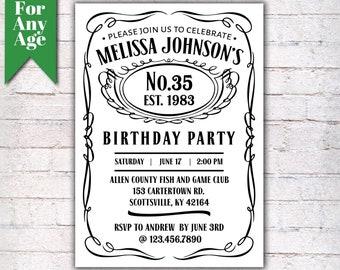 35th birthday invite etsy 35th birthday invitation vintage whiskey themed birthday invitation birthday party invite liquor themed birthday invitation i028 filmwisefo
