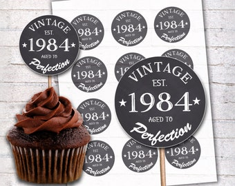 35th Birthday Cupcake Toppers 1984 Vintage Aged To Perfection
