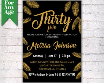Gold Feather Birthday Invitation 35th Party Invite Printable Adult Black And