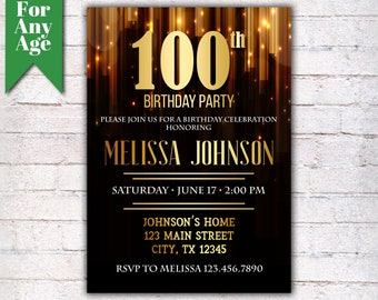 100th birthday invitations etsy
