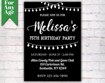 75th Birthday Invitation Party Invite Printable Adult Black And White Any Age Men Or Women
