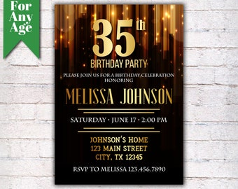 35th birthday invite etsy 35th birthday invitation birthday party invite printable adult invitation black and gold any age men or women party i016 filmwisefo