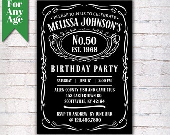 50th Birthday Invitation Vintage Whiskey Themed Party Invite Liquor I028