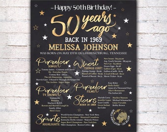 50th Birthday Sign Gift For Women Party Decorations 50 Years Ago In 1969 Poster Mom Gold