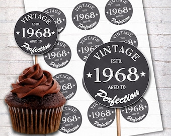 50th Birthday Cupcake Toppers 1968 Vintage Aged To Perfection