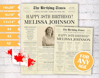 Adult birthday party decorations 56th birthday gift for men or women 56th birthday newspaper poster sign PRINTABLE back in 1965