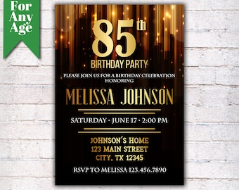 85th Birthday Invitation Party Invite Printable Adult Black And Gold Any Age Men Or Women