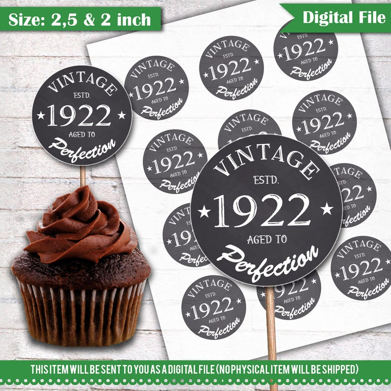 96th Birthday Cupcake Toppers 1922 Vintage Aged To Perfection