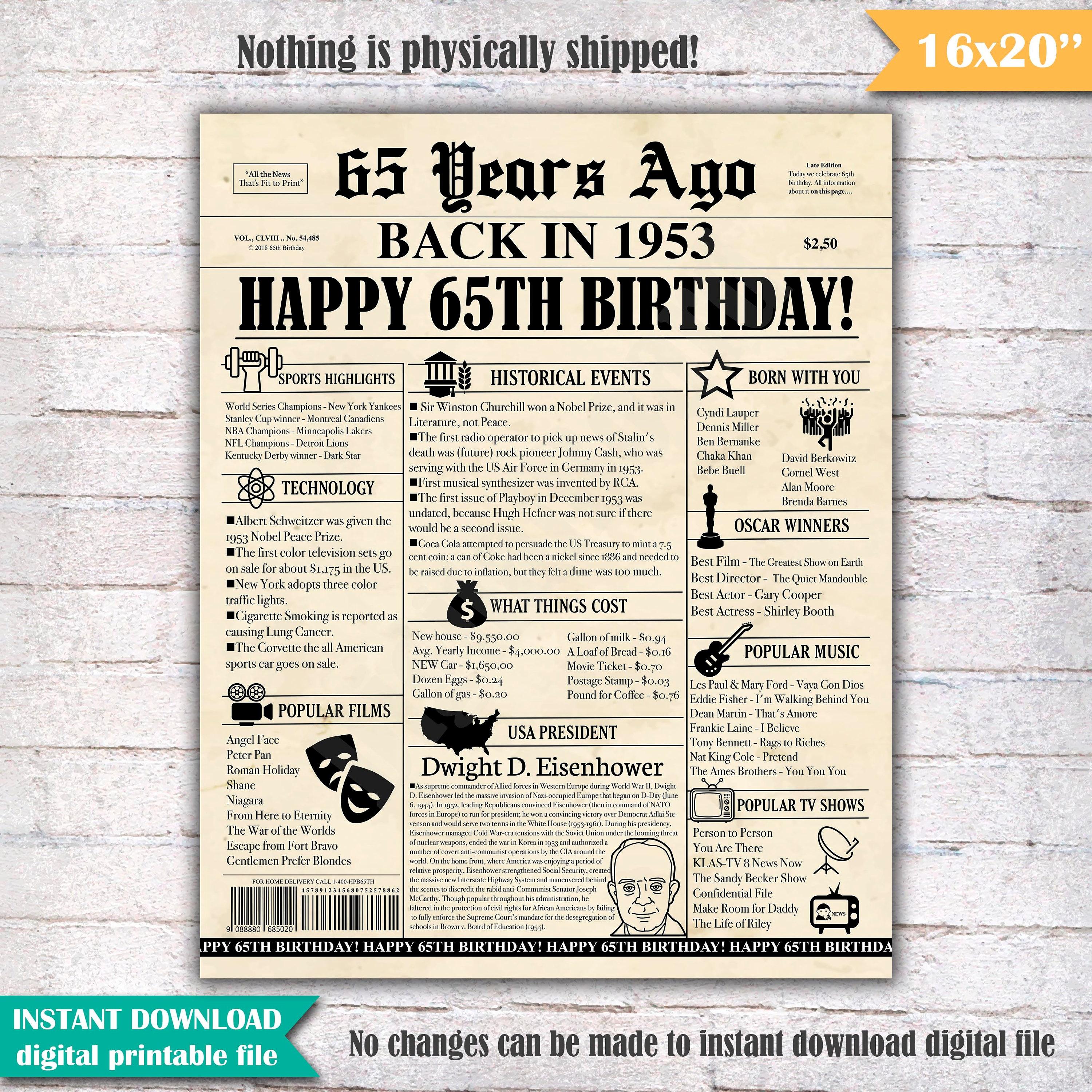 Birthday Newspaper Poster Sign Years Ago Back In Etsy Jpg 3000x3000 Funny 65th Poems